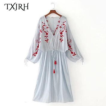 TXJRH Fashion Striped V-Neck Buttons Long Lantern Sleeve Floral Embroidery Waist Tied Bow Tassel A-Line Knee-Length Slit Dress