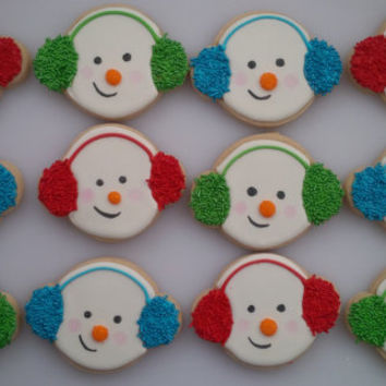 Chilly Snowman Cookies - One Dozen Decorated Christmas / Holiday Cookies