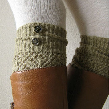 SALE SALE The LouLou -Gold: Open-work Legwarmers with Antique Gold Metal Military Buttons - Leg warmers (item no. 9-11)
