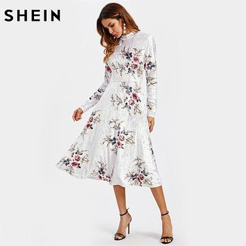 SHEIN Floral Crushed Velvet Elegant Fitted and Flared Dress Womens White Band Collar Long Sleeve A Line Floral Dress