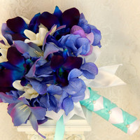 Blue Purple Dendrobium Orchid Bouquet- Hydrangea, Tiger Lily, Dendrobium Orchid Wedding Bouquet- Ready To Ship