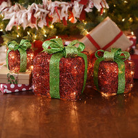 Pre-Lit Red and Green Gift Boxes, Set of 3