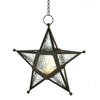 Gifts & Decor Glass Hanging Star Candle Lantern, Clear