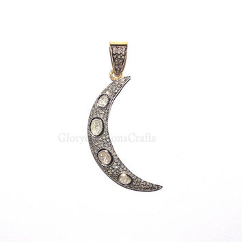 Designer Diamond Pave Rose Uncut Polki Crescent Moon Pendant, Pave Moon Pendant, Sterling Silver 925 Moon Pendant Necklace Jewelry