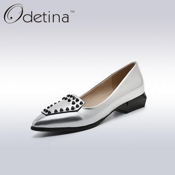 Odetina Fashion Women Pointed Toe Rivets Loafers 2017 Spring&Summer Ladies Slip on Flats Silver Women Casual Shoes Big Size