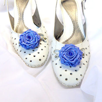 Shoes Clips , Accessories wedding ,Blue flowers Shoe , Accessories for women , Shoe Accessories , Blue small flowers
