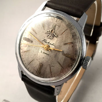 "VERY RARE Vintage men's watch called ""Raketa AIRPLANE"" (eng.Rocket) mechanical watch . Comes with new denim band."