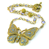 Enamel Butterfly Necklace, Gold Pendant Necklace, Blue Butterfly Pendant, Rhinestone Chain, Gold Jewelry, Enamel Jewelry, Spring Jewelry