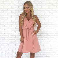 Rose Dawn Knot Jersey Dress in Pink
