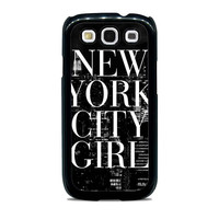 New York City Girl Black & White Skyline Typography Unique  for Samsung cases