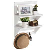 Rustic Distressed White Wood Wall Mounted Organizer Shelves w/ 2 Hooks, 2-Tier Storage Rack,