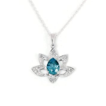 Sterling Silver Pear Swiss Blue Topaz & Diamond Lotus Flower Pendant Necklace