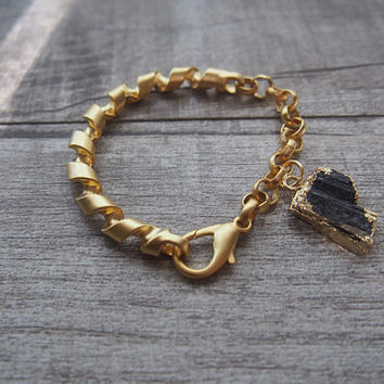 Raw Black Tourmaline Bracelet Matte Gold Chain Bracelet Statement Bracelet