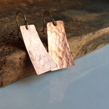 Hammered Earrings, Rectangular/ Angular Earrings, Tall Trapezoid, Artisan Earrings, Etsy, Etsy Jewelry, Copper Earrings