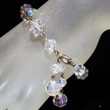 Aurora Borealis Crystal Bead Bridal Bracelet, Faceted Glass Beads, Wire Links, Mid Century Jewelry 1117