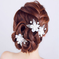 3PCS/SET Lace Butterfly Pearl Crystal Flower Handmade hair stick Hair pin Fashion Bridal hair Accessories Wedding hair Jewelry