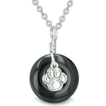 Small Wolf Paw Lucky Charm Amulet Silver Gemstone Onyx Donut Courage Positive Pendant Necklace
