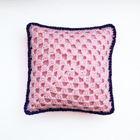 Retro Crochet Pillow Two-Tone Square Pink with Purple Border