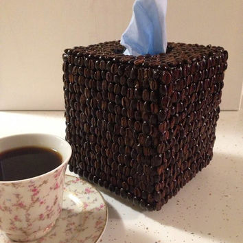 Wooden Coffee Bean Tissue Box Cover