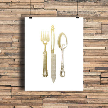 Kitchen Utensils Faux Gold Foil Art Print - Foodie - Home Cook - Vintage Engraving - Kitchen Decor - Wedding Gift - Wedding Decor - Chef