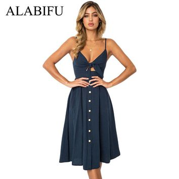 ALABIFU 7 Colors Summer Dress Women 2018 Sexy Strapless Backless Dress Female Elegant Slim Bohemian Beach Party Dress vestidos