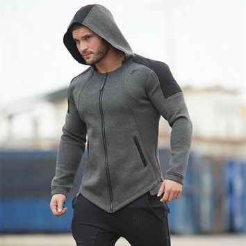 Muscle Men Coat Thickening Warm Fitness Casual Long Sleeve Jacket Fall/ Winter Popular Bodybuilding Hoodies Zippered Outerwear