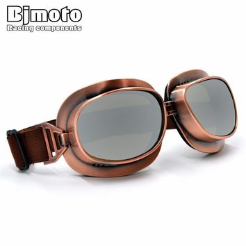BJMOTO Cool Vintage Style Motorcycle Helmet Goggles Scooter Glasses Aviator Pilot Eyewear Cruiser Steampunk 5 Colors For Harley