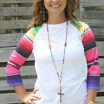 Wondering Eye White Baseball Burnout with Serape Sleeves
