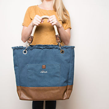Mom Life - Large Canvas Tote Bag