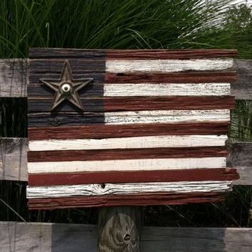 Salvaged Antique Barn Wood American Folk Art Flag with Antique Metal Star
