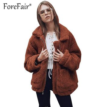 Forefair Faux Fur Teddy Coat Women 2018 Autumn Winter Warm Oversize Jacket Coats Thick Plush Zipper Overcoat Casual Outerwear