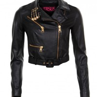 Versus Black Leather Pinned Versus Biker Jacket