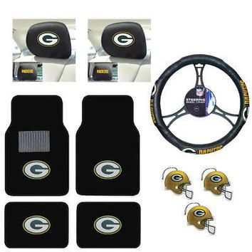 Licensed Official NFL Green Bay Packers Car Truck Floor Mats Steering Wheel Cover Air Fresheners