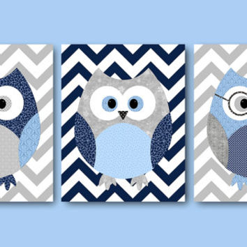 Owl Decor Owl Nursery Baby Boy Nursery Decor Children Art Print Baby Nursery Print Nursery Print Boy Art Kids Print set of 3 8x10 Navy Gray