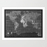 Black and White Vintage World Map Art Print by Catherine Holcombe