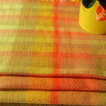 Sunny Yellow and Orange Kitchen Towels, Handwoven Tea Towels, Hostess Gift
