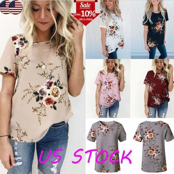 Summer Women's Short Sleeve Floral Print T-shirt Boho Loose Tops Blouse Pullover