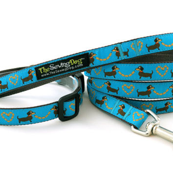 """Dachshund Small Dog Collar & Leash Set """"Sausage Love - Teal"""" - 5/8"""" Width - Available in 3 Sizes (XS, S, M)"""
