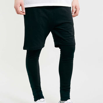 BLACK SHORT MEGGING 2 IN 1 JOGGERS - Men's Joggers - Clothing - TOPMAN USA