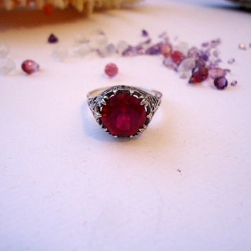 Passion Very Feminine Victorian Art Nouveau Ruby Solitaire Handmade Fine Jewelry Eco friendly Silver Submissive Gothic Women's ring
