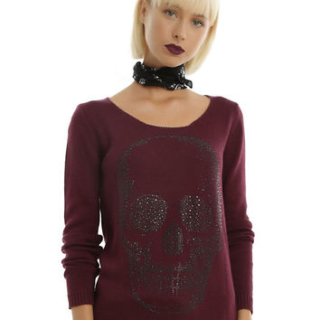 Hematite Bling Skull Maroon Crisscross Back Girls Sweater