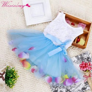 Kids Girls Stylish Princess Pageant Party Tutu Dress Korean Baby Girls Lace Dress Lace Bow Flower Tulle dress
