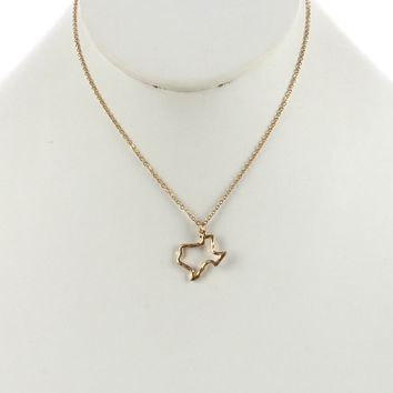 Gold State Of Texas Charm Necklace