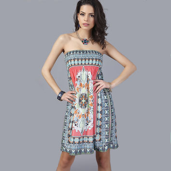 Sexy Summer Ice Dress Vintage Bohemian Vestidos De Festa European Style Beach Print Harajuku Femininas Mujer Women Dress Clothes