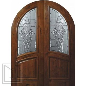 Slab House Double Door 96 Wood Alder Catalina Round Top Wrought Iron