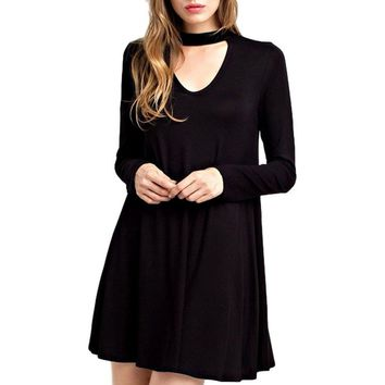 V Cutout Front High Neck Dress, Black
