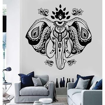 Vinyl Wall Decal Indian Elephant Head Lotus Hindu Symbol Stickers Unique Gift (720ig)