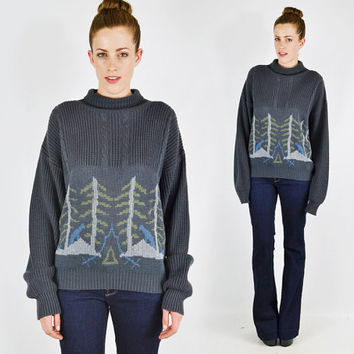 vtg 80s grey FOREST tree bear SCENE novelty print cable knit slouchy OVERSIZED sweater jumper S M L