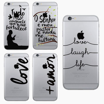 Super Slim Transparent LOVE LAUGH LIFE Printing Cell Phone Case For iphone 5 5s / 6 6s Hard PC Clear Skin Back Cover Capa