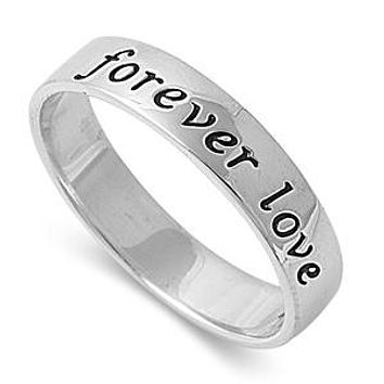 A 5mm 925 Sterling Silver Platinum Forever Love Wedding Band